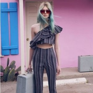 NWT For Love and Lemons Striped Organza Crop Top